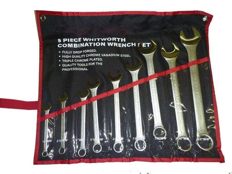 Spanner Set - 9 Piece - High Quality - Whitworth - Suits British Cars