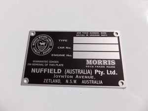 Australian BMC / Nuffield Chassis Identification Plate - 3 Window Type