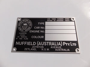Australian BMC / Nuffield Chassis Identification Plate - 4 Window Type