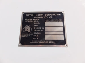 Australian BMC / Nuffield Chassis Identification Plate - Suits Utes / Vans - Type 1