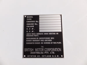 Australian BMC / Nuffield Chassis Identification Plate - Suits Utes / Vans - Type 2