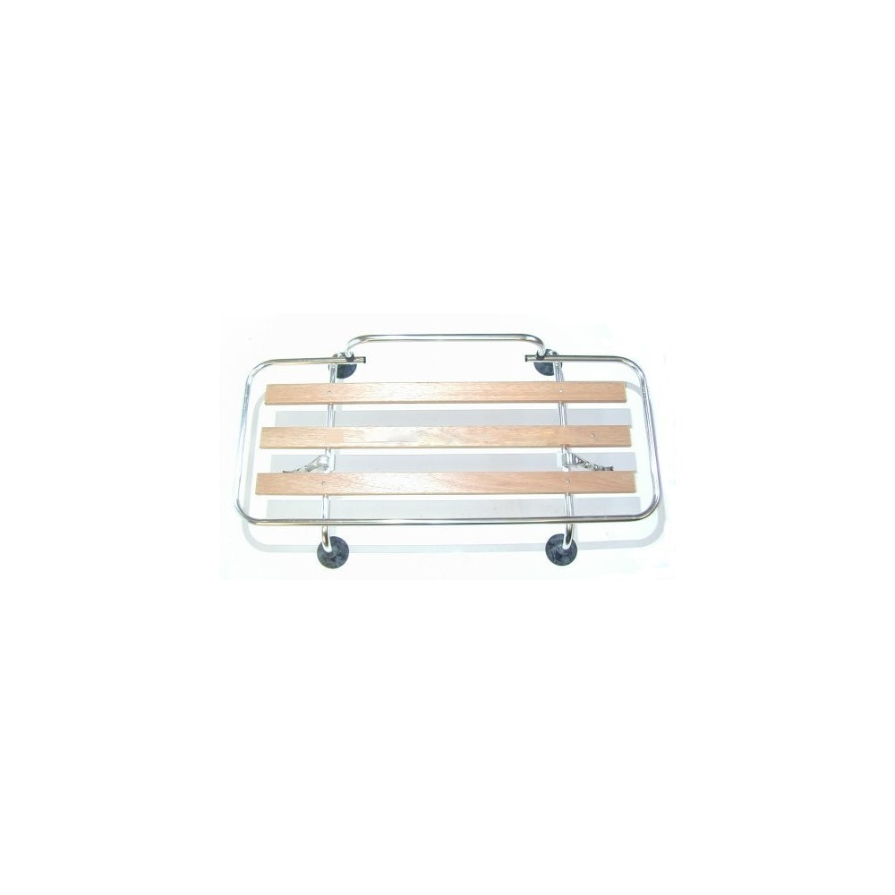 Boot Lid Rack - Polished Aluminium With Wooden Slats