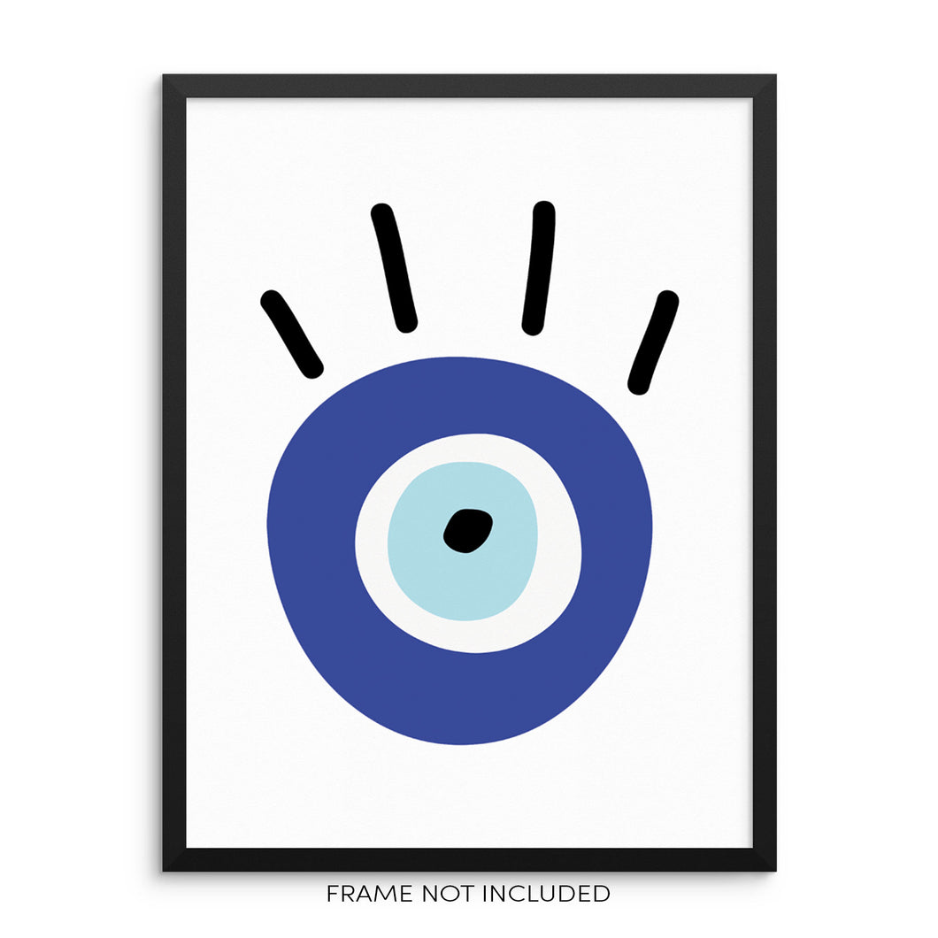 Turkish Third Evil Eye Art Print Boho Home Decor Wall Poster
