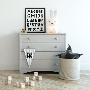 Kid's Black and White ABCs Alphabet Educational Art Print