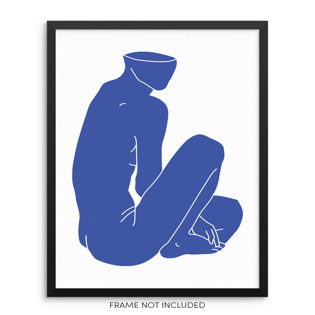 Abstract Nude Blue Body Shape Minimalist Wall Decor Art Print by Sincerely, Not