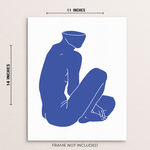 Abstract Nude Blue Body Shape Minimalist Wall Decor Art Print