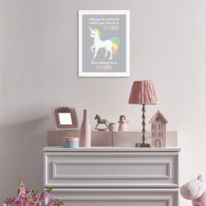 Girls Bedroom Art Print Always Be Yourself Unless You Can be a Unicorn by Sincerely, Not