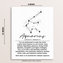 "AQUARIUS Zodiac Constellation Wall Art Poster - 8"" x 10"" UNFRAMED"