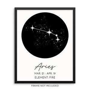 ARIES Constellation Art Print Astrological Zodiac Sign Wall Poster by Sincerely, Not