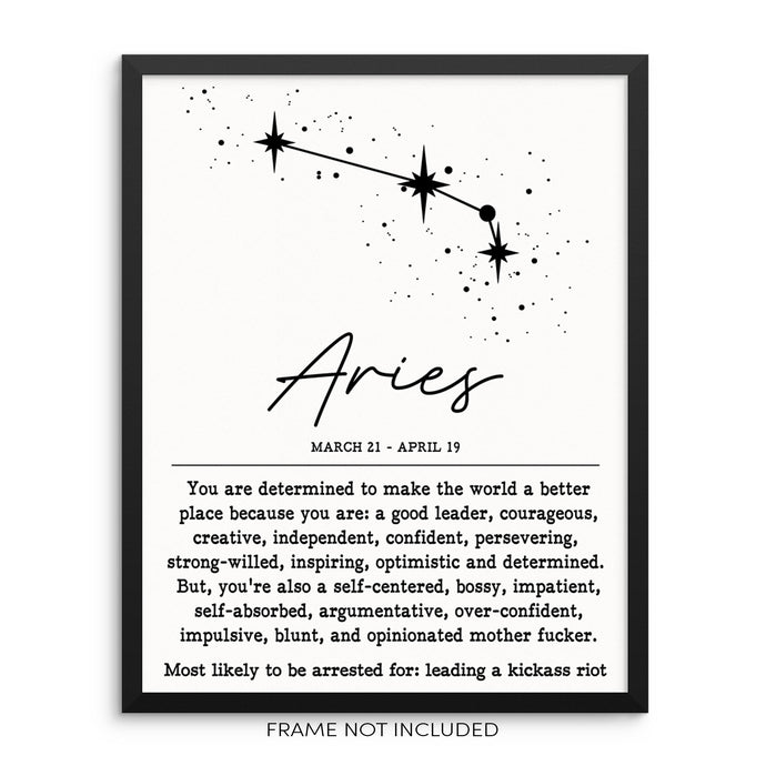 ARIES Funny Zodiac Constellation Wall Decor Art Print Poster