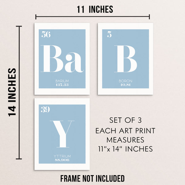 BABY Periodic Table of Elements Words Blue Art Print Set