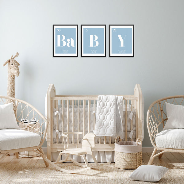 BABY Periodic Table of Elements Words Blue Art Print Set by Sincerely, Not