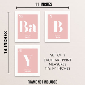 BABY Periodic Table of Elements Words Pink Art Print Set