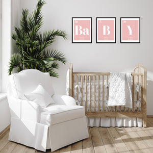 BABY Periodic Table of Elements Words Pink Art Print Set by Sincerely, Not