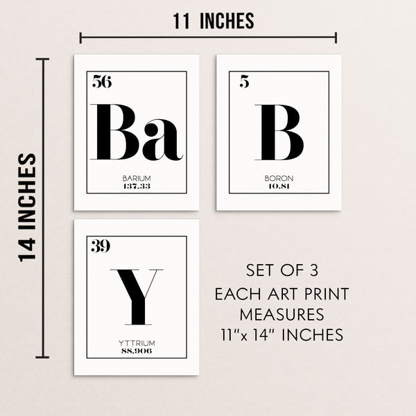BABY Periodic Table of Elements Words Art Print Set