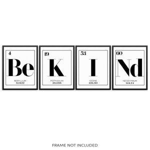 BE KIND Periodic Table of Elements Words Art Print Set by Sincerely, Not