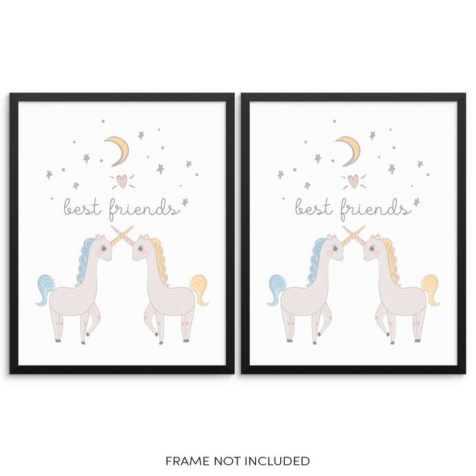 Girls Trendy Art Prints Gift Set Best Friends Unicorns