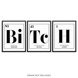 BITCH Periodic Table of Elements Words Art Print Set by Sincerely, Not