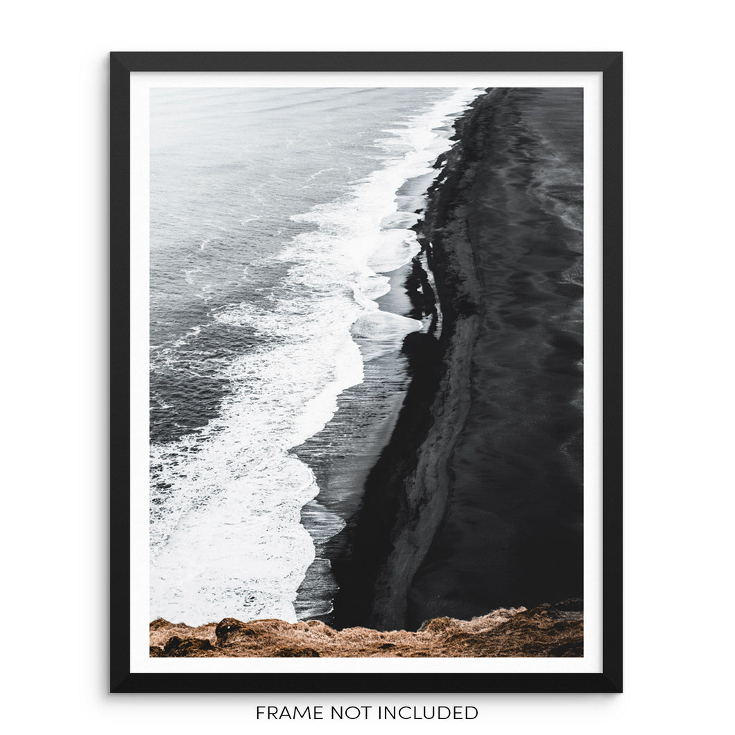 Ocean Waves Black Sandy Beach Minimalist Art Print Wall Poster