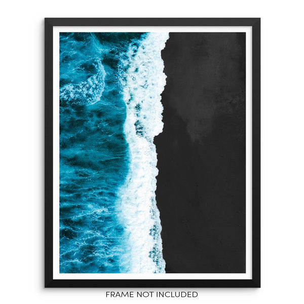 Ocean Beach Waves Minimalist Art Print Seacoast Wall Poster