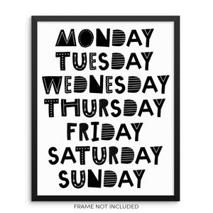 Kid's Black and White Days of the Week Educational Wall Poster