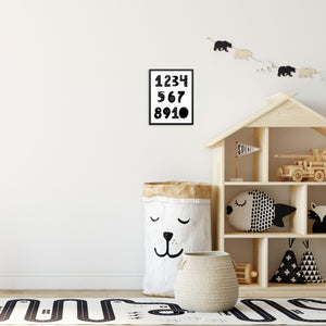 Kid's Black and White Numbers Wall Poster Educational Art Print