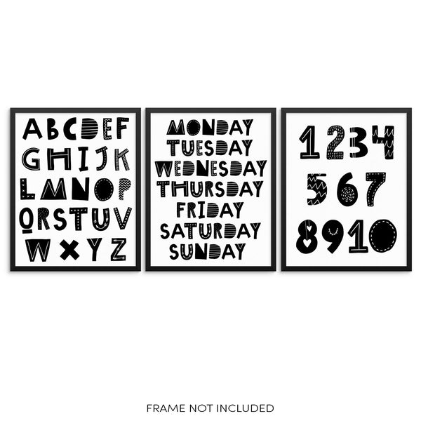 Kids ABCs Numbers and Days of Week Educational Art Prints Set