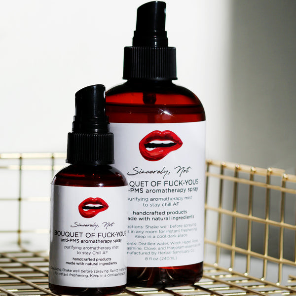 Aromatherapy Home and Body Spray Bouquet Of Fuck Yous Anti-PMS 2oz By Sincerely, Not Greeting Cards and Novelty Gifts