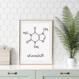Chocolate Molecule Art Print Theobromine Molecular Structure Poster