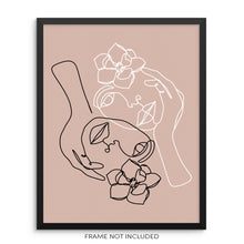 Faces With Flowers Art Print Minimalist One Line Drawing