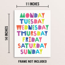 Kid's Colorful Days of the Week Wall Poster Educational Art Print
