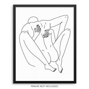 Abstract One Line Drawing Art Print Nude Bodies Poster