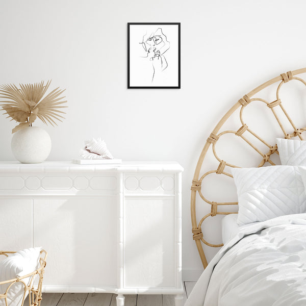 Abstract Line Drawing Faces Wall Decor Art Print Poster