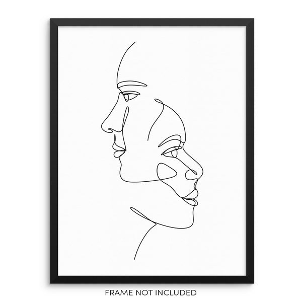 Abstract Faces One Line Drawing Minimalist Trendy Wall Decor Art Print