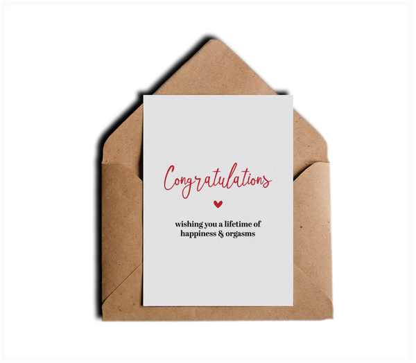 Congratulations Wishing You a Lifetime of Happiness and Orgasms Funny Honest Wedding Card by Sincerely, Not Greeting Cards and Novelty Gifts