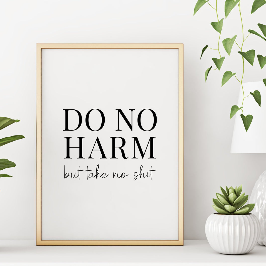 Do No Harm But Take No Shit Wall Decor Art Print - 8