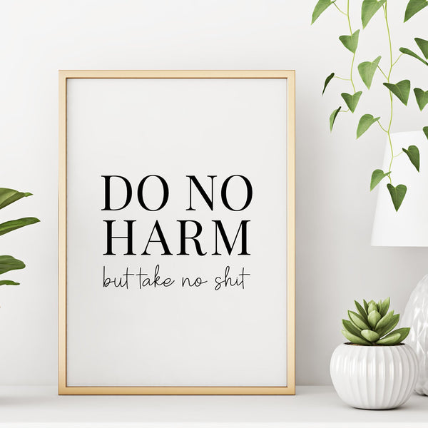 Do No Harm But Take No Shit Inspirational Quote Wall Decor Art Print