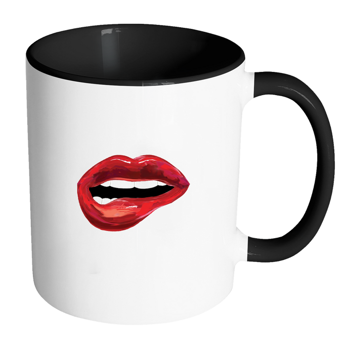 Red Lips Trendy Coffee Mug White and Black Cup