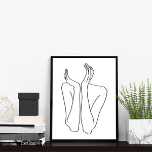 Modern Black and White Abstract Nude Woman Body Figure Wall Decor One Line Art Print Poster by Sincerely, Not