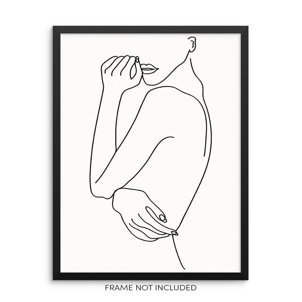 Minimalist One Line Drawing Art Print Poster Abstract Nude Body Shape