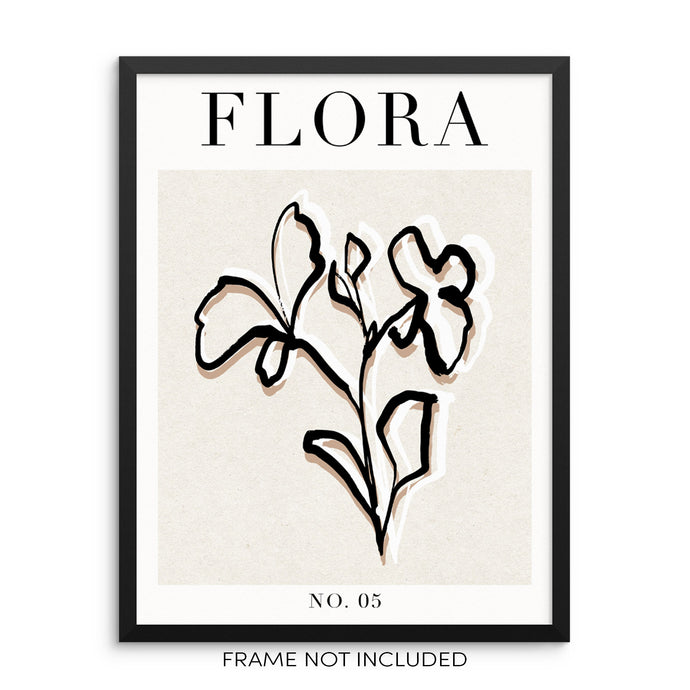 Minimalist Flower Line Art Print Abstract Botanical Flora Poster