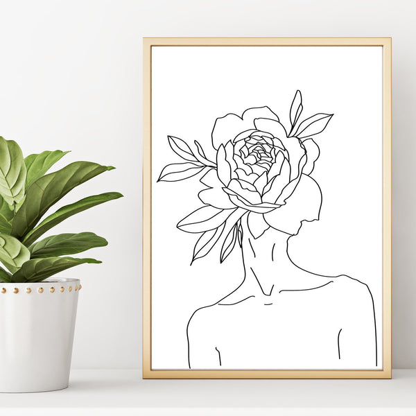 Abstract Line Drawing Nude Woman With Flower on Head Wall Art Print