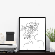 Modern Black and White Abstract Nude Woman With Flower on Head Wall Decor One Line Art Print Poster by Sincerely, Not Greeting Cards, Art Prints and Gifts