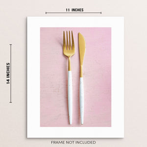Fork and Knife Kitchen and Dining Room Decor Wall Art Print
