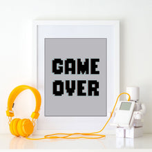 Boys Video Gaming Wall Poster Game Over Art Print for Kids Bedroom