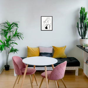 Abstract Line Drawing Woman with Towel Wall Decor Art Print