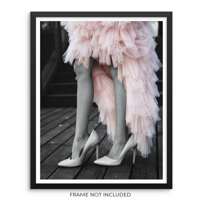 Little Girl Wearing Pink Tutu Skirt Fashion Wall Poster Art Print