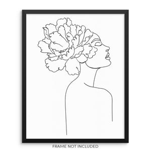 One Line Abstract Woman's Body Shape with Flower Wall Decor Art Print