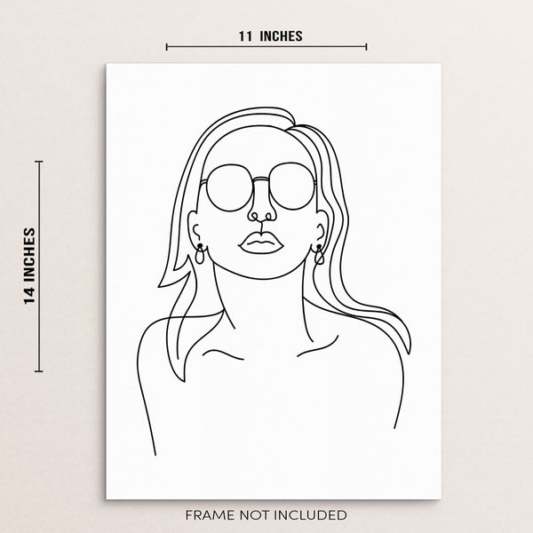 Abstract Woman's Face with Sunglasses Modern Wall Decor Art Print