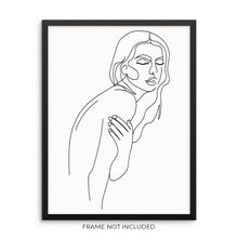 Abstract One Line Woman's Nude Body Shape Wall Art Print